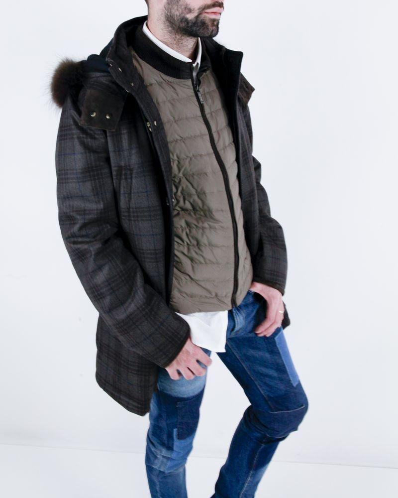 Manteau en laine marron et sa doudoune sans manches amovible Pal Zileri