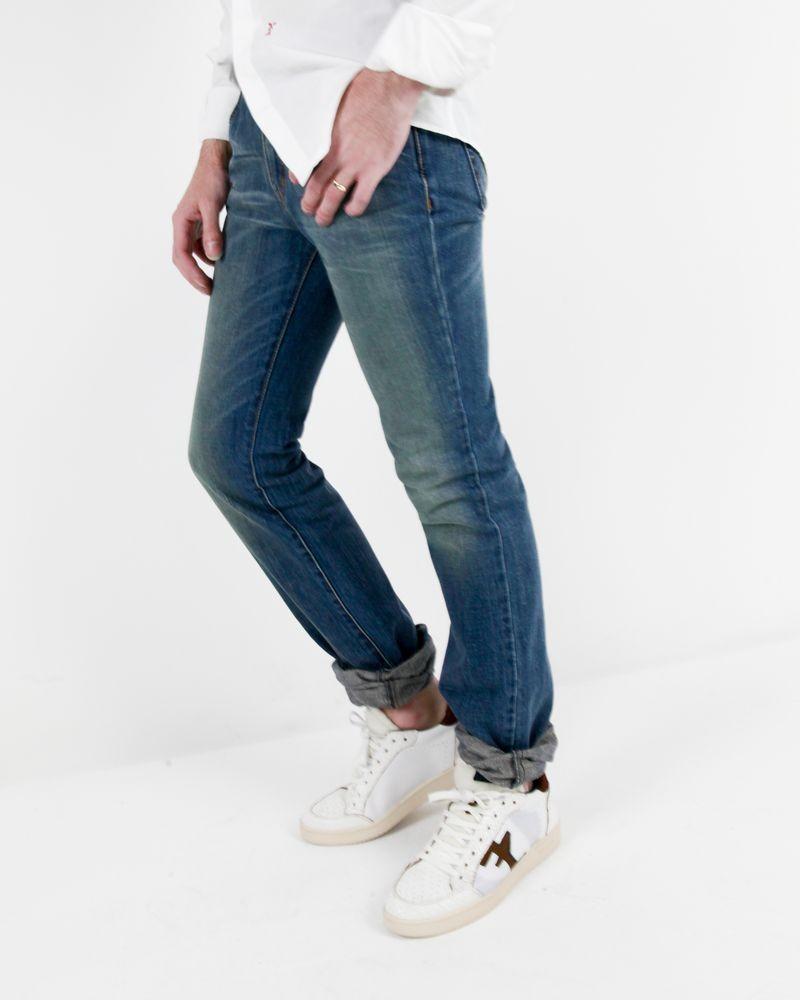 Jean brut bleu régular à poche brodée Alexander McQueen