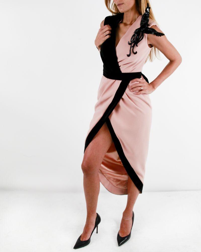 Robe drapée bi matière saumon et noir Elisabetta Franchi