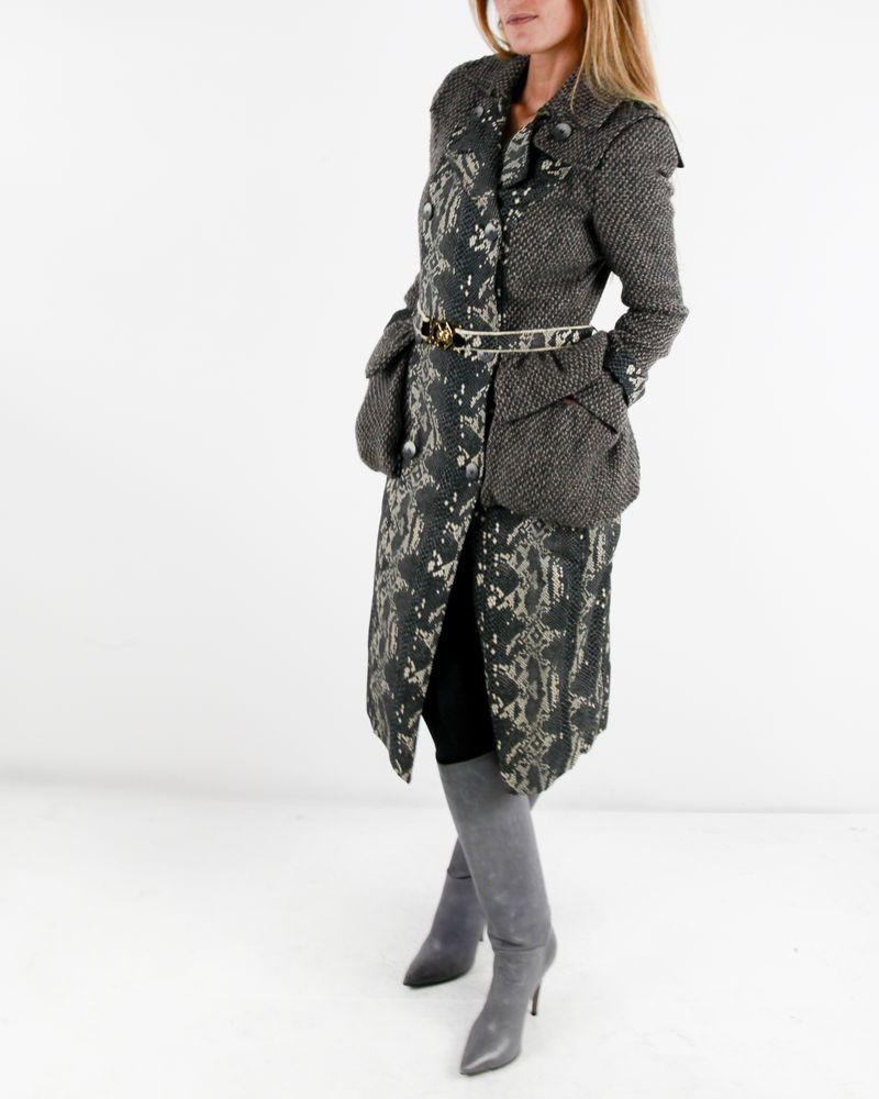 Manteau en laine marron à imprimé reptile Roberto Cavalli