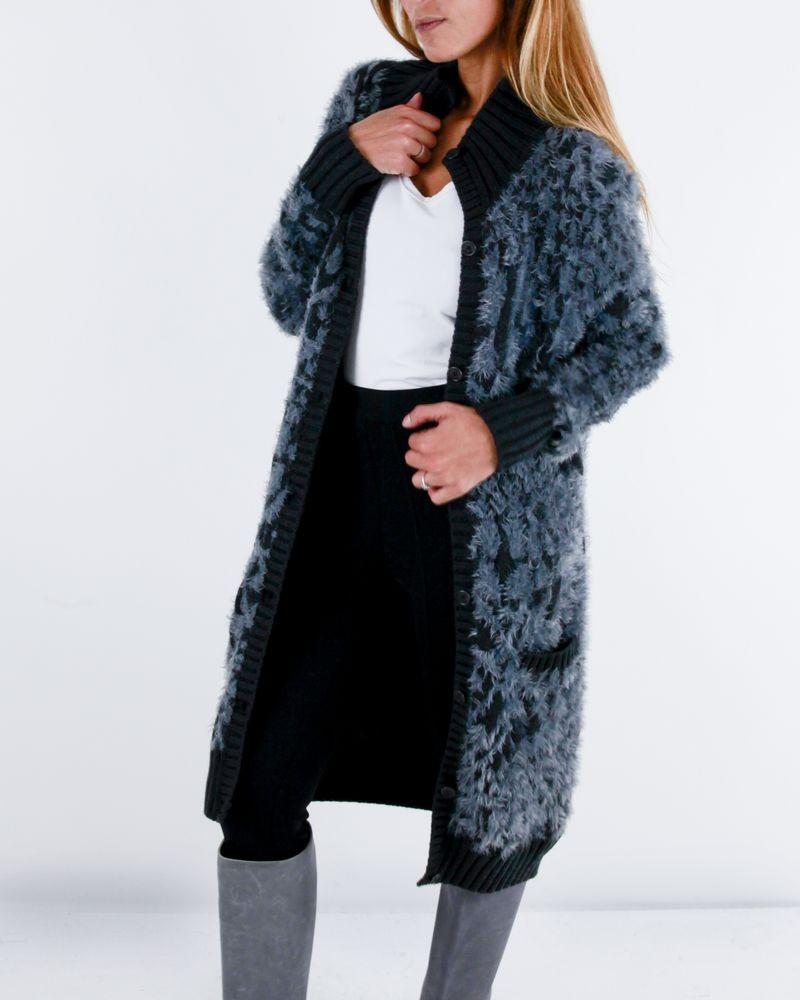 Gilet en laine gris léopard Roberto Cavalli