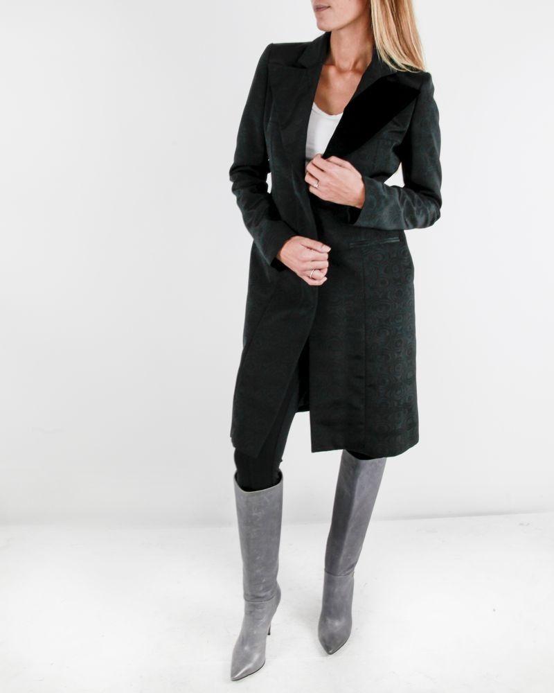 Veste manteaux noir à imprimé réfléchissant Roberto Cavalli