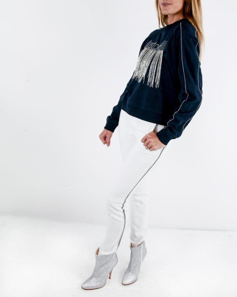 Jean skinny blanc à bandes latérales Roberto Cavalli