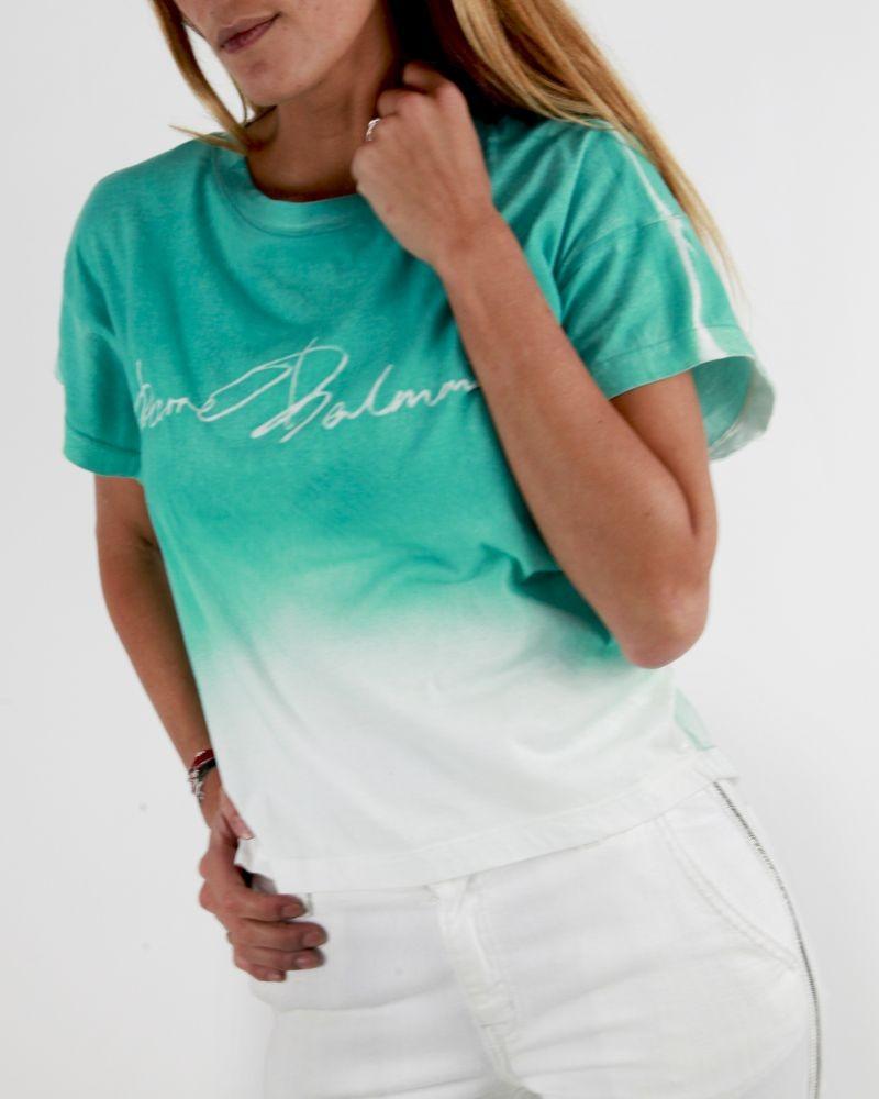 T-shirt blanc à tie and dye vert d'eau