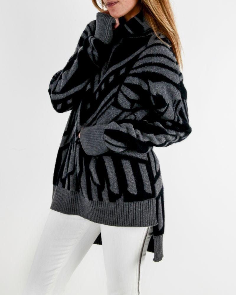 Pull à col roulé en laine et cashmere gris à motif géométrique Roberto Cavalli