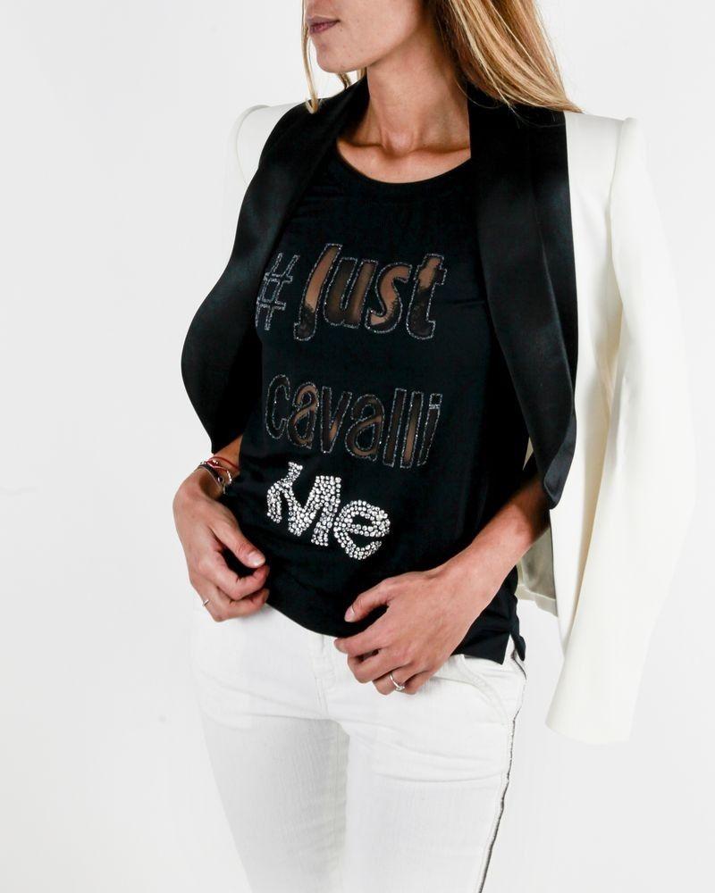 T-shirt noir à logo ajouré et perlé Roberto Cavalli