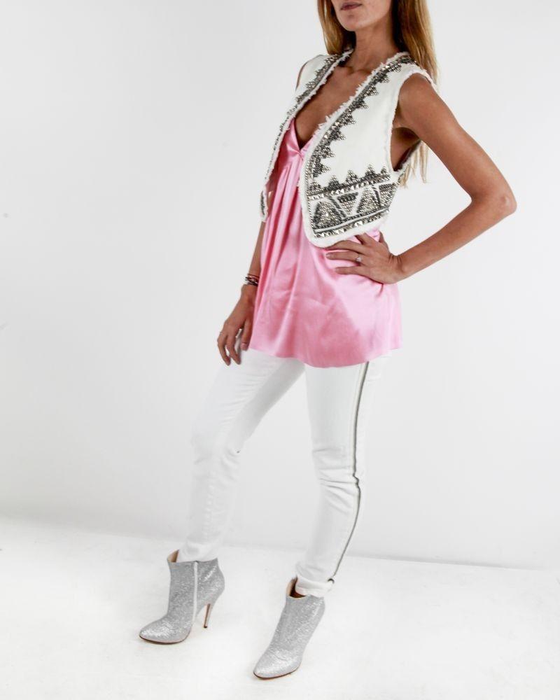 Gilet sans manches en jean blanc Balmain