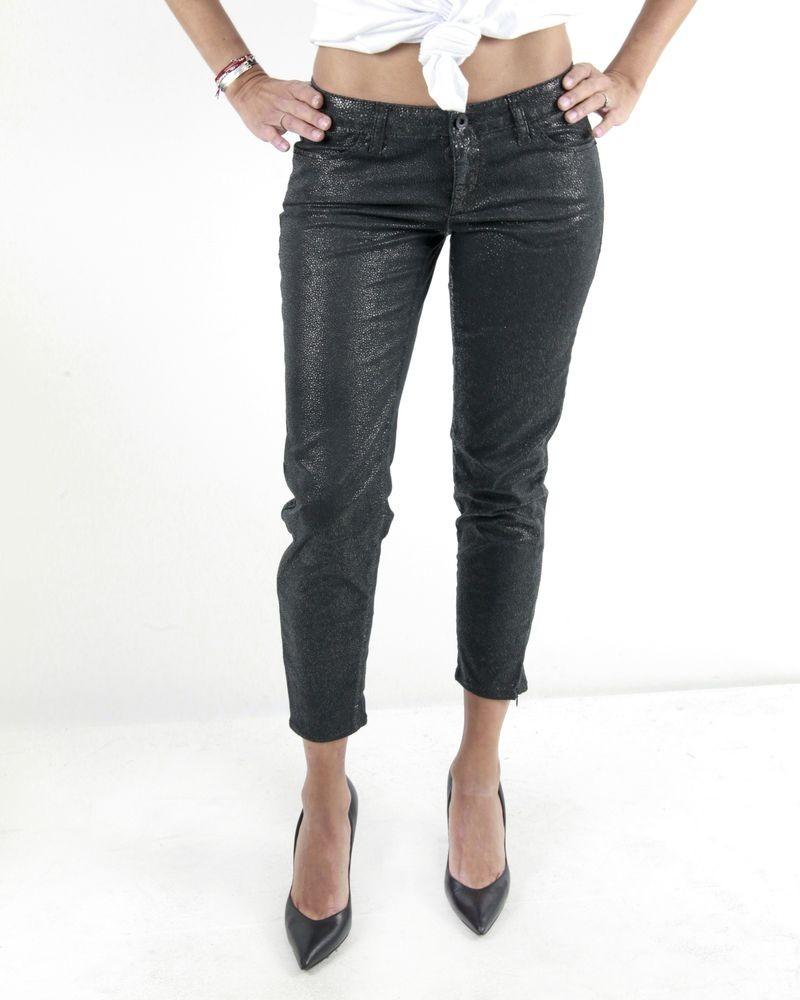 Pantalon skinny noir effet reptile Guess