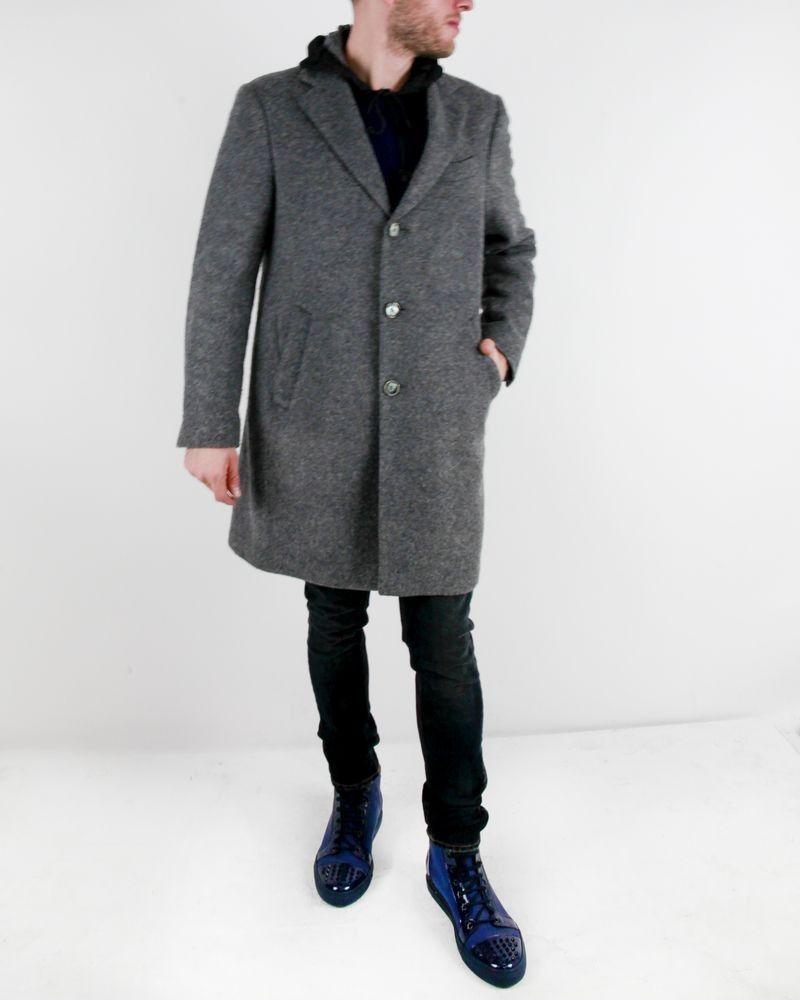 Manteau en laine bouillis gris à capuche Luca Roda