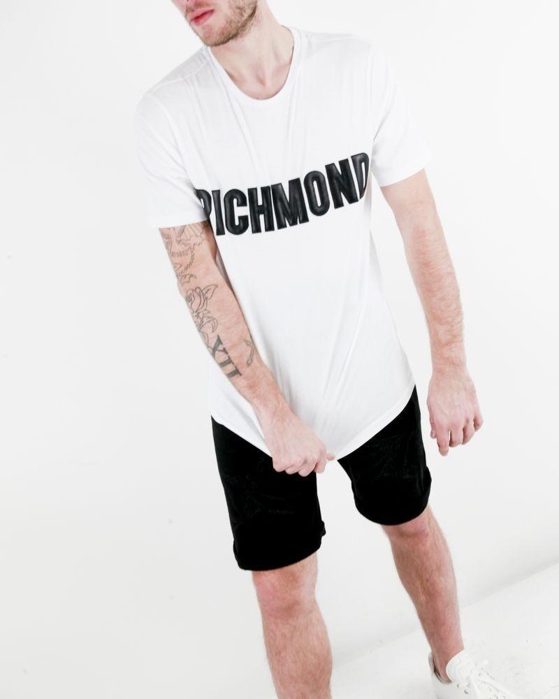 T-Shirt blanc en coton à logo cuir John Richmond