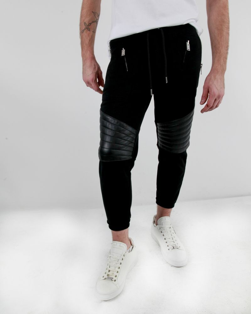 Pantalon jogging noir à simili cuir Les Hommes