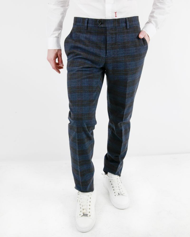 Pantalon tailleur bleu à carreaux Luca Roda
