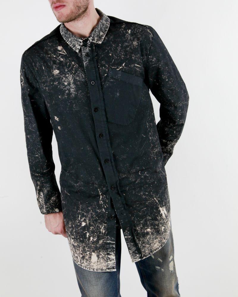Chemise noir effet délavé beige Lost & Found