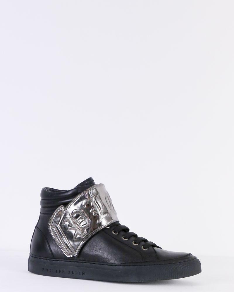Basket en cuir noire montante à scratch métallisé Philipp Plein