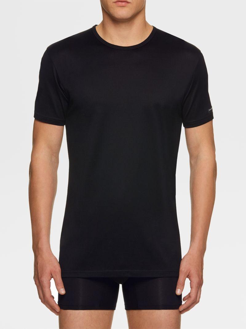 T-Shirt en modal noir à manches courtes Ermenegildo Zegna