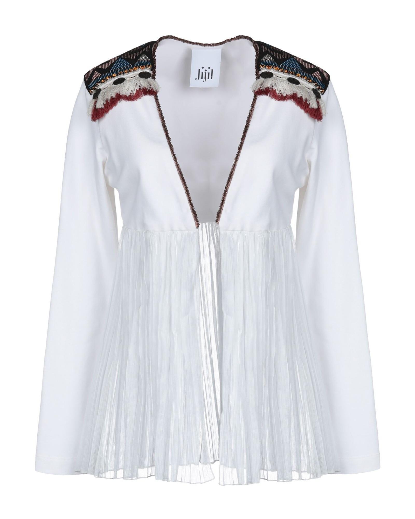 Gilet blanc à empiècement mousseline drapé & broderies ethniques Jijil