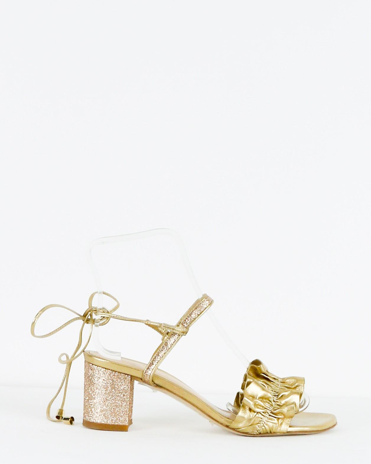 Sandales dorée à tige froncé Space Simona Corsellini
