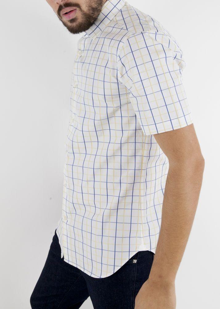 Chemise blanche à carreaux jaune et bleu Borsa