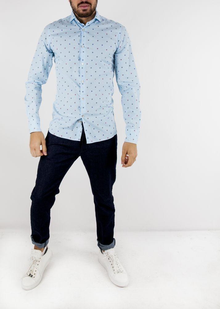 Chemise bleu fleurie Vente spéciale chemises