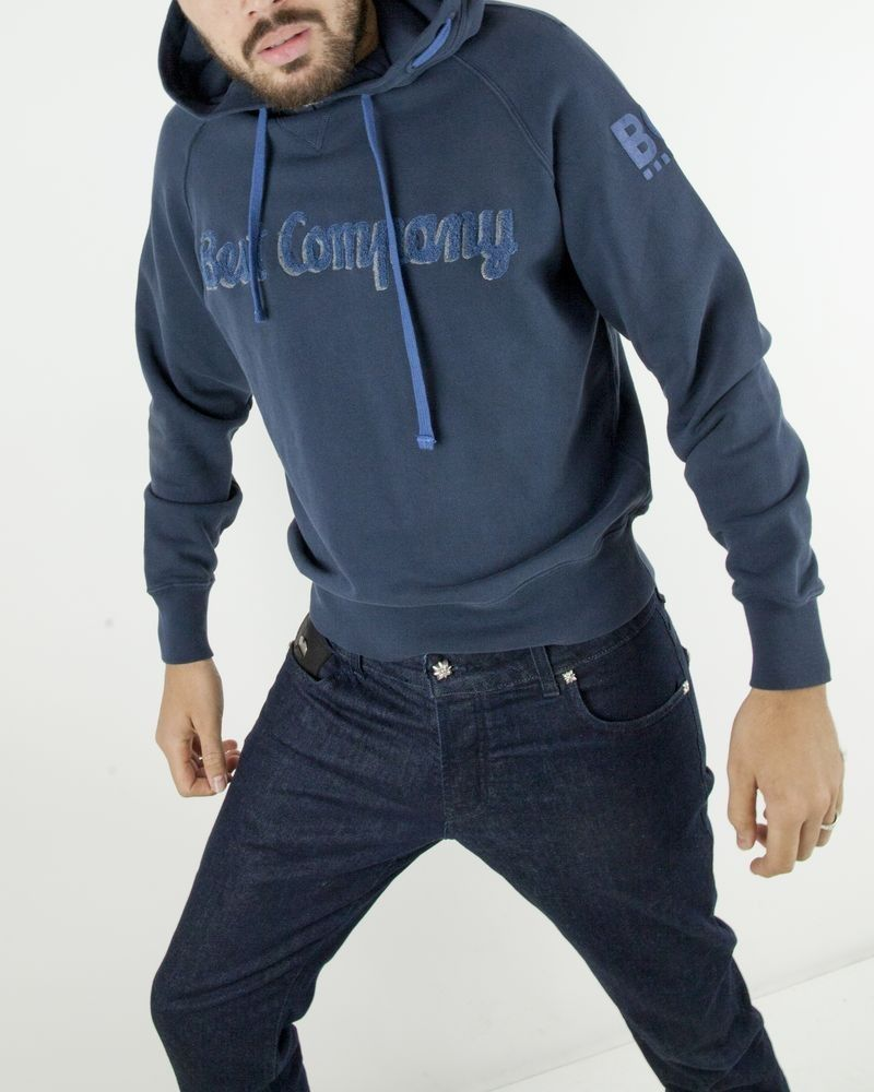 Sweat à capuche bleu à logo bouclette Best Company