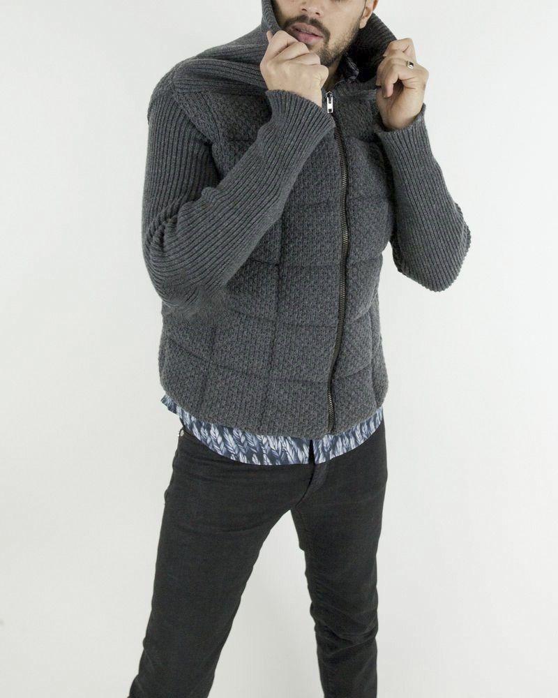 Gilet matelassé en laine gris John Galliano
