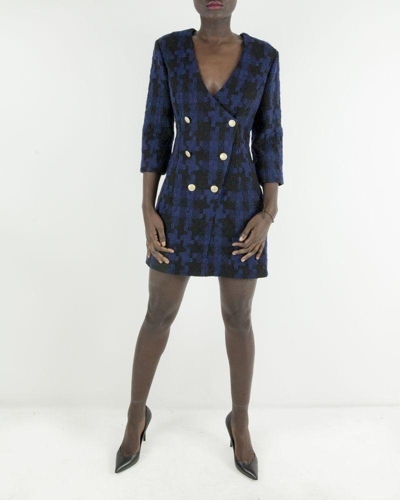 Robe en laine bleu imprimé pied de poule à boutons dorées Balmain Balmain