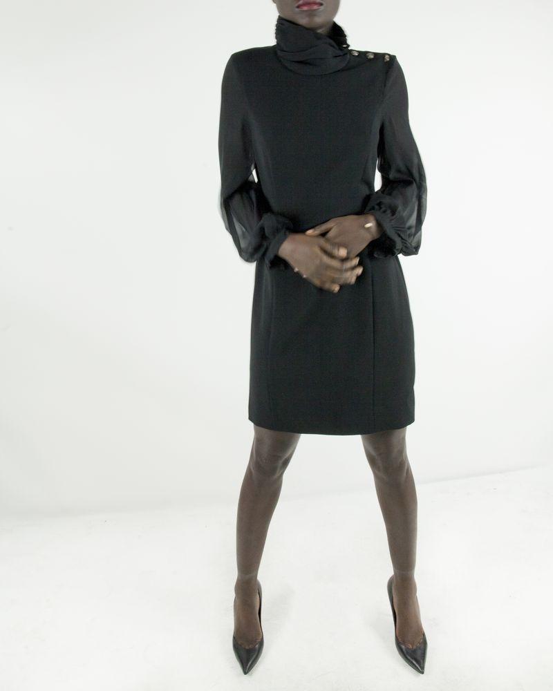 Robe noire à manches en mousseline Balmain