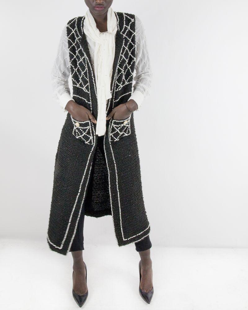 Manteau noire avec perles Edward Achour