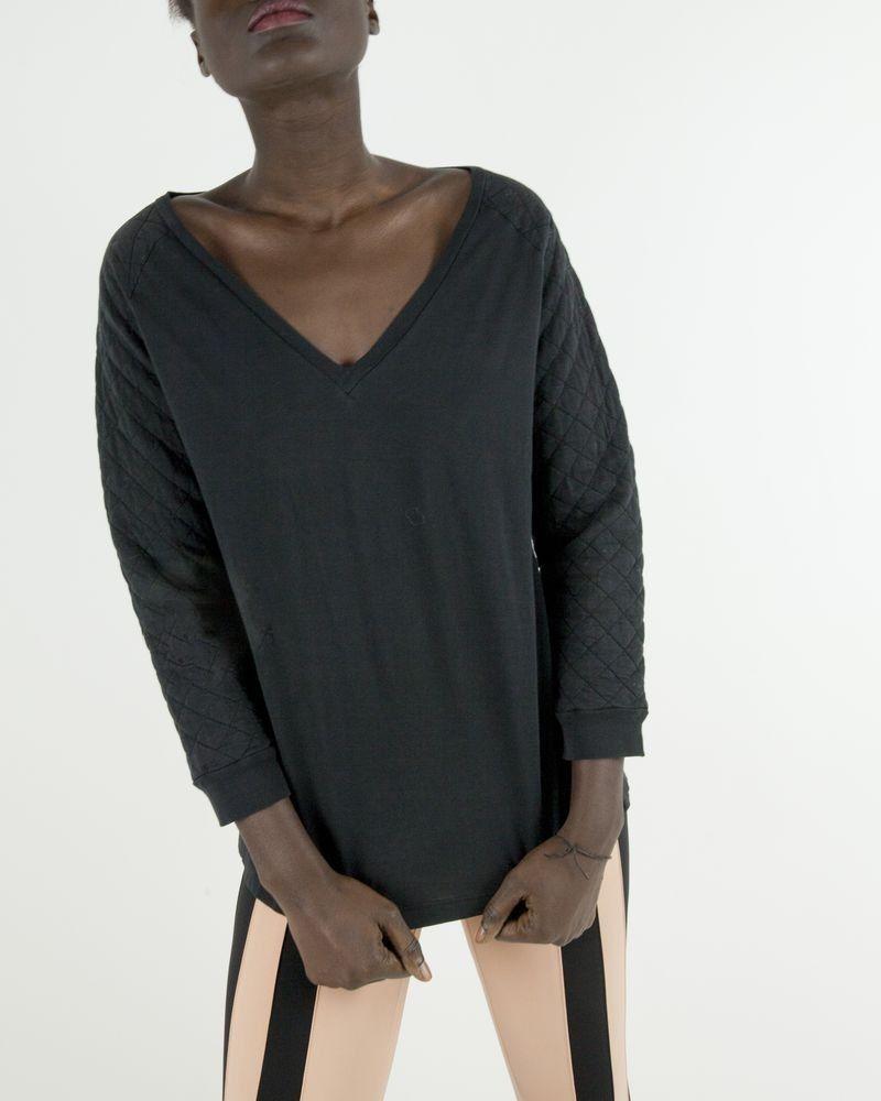 Top femme en coton noir à manches matelassées Balmain