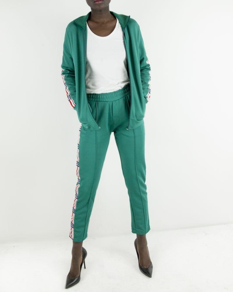 Pantalon de jogging vert à bandes latérales Zoe Karssen
