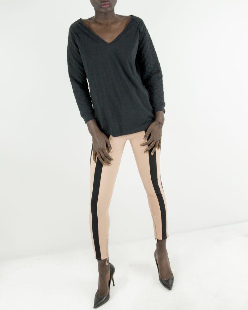 Pantalon legging stretch saumon à bandes latérales Elisabetta Franchi