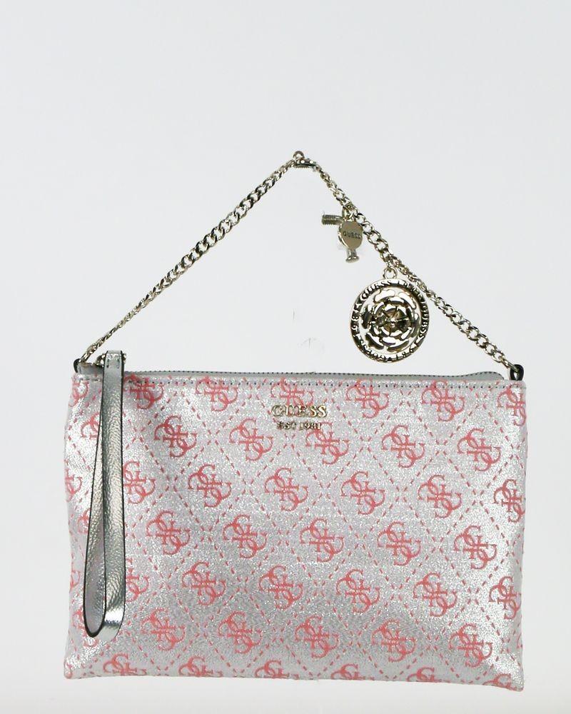 Pochette en toile argent à logo rose Guess