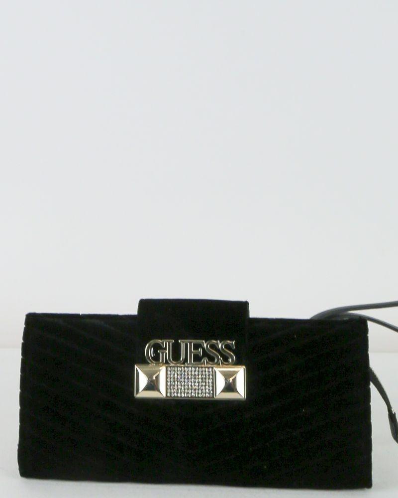 Pochette en velours noir à strass Guess