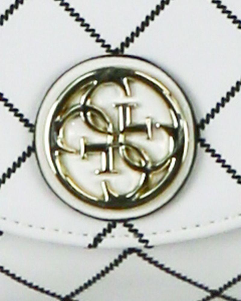 Pochette en simili cuir blanc à bandoulière bijoux dorée Guess