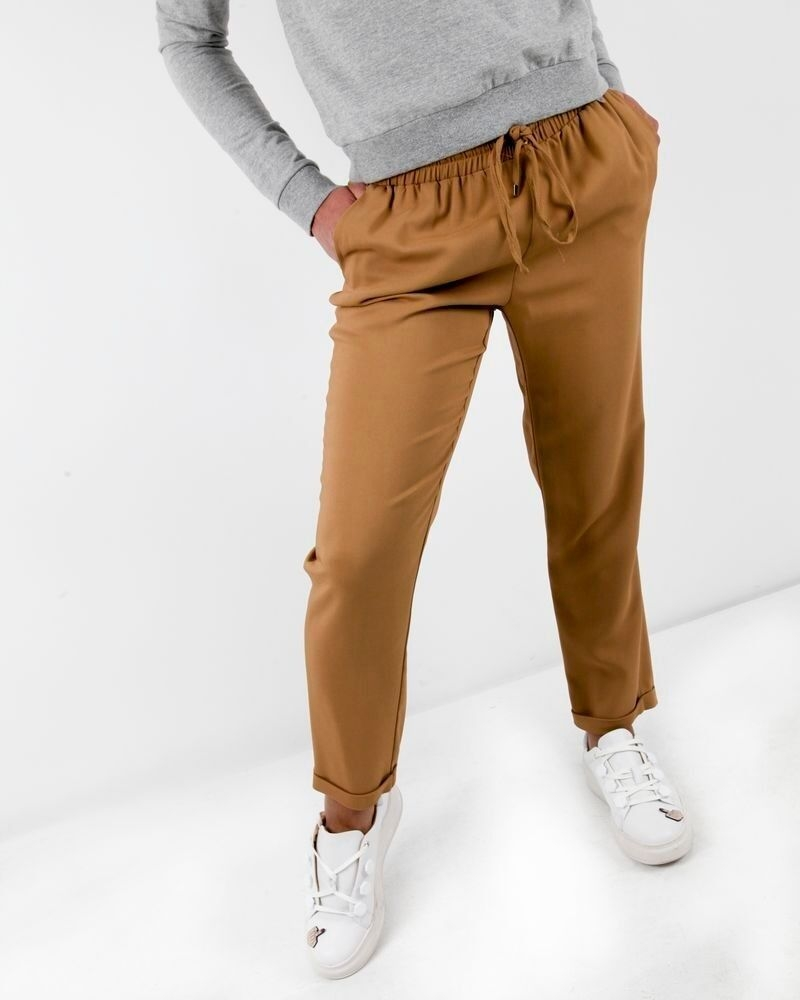 Pantalon smocké camel Space Simona Corsellini