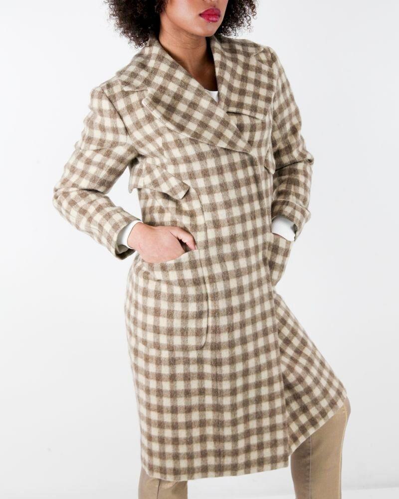 Manteau en laine beige à carreaux John Galliano