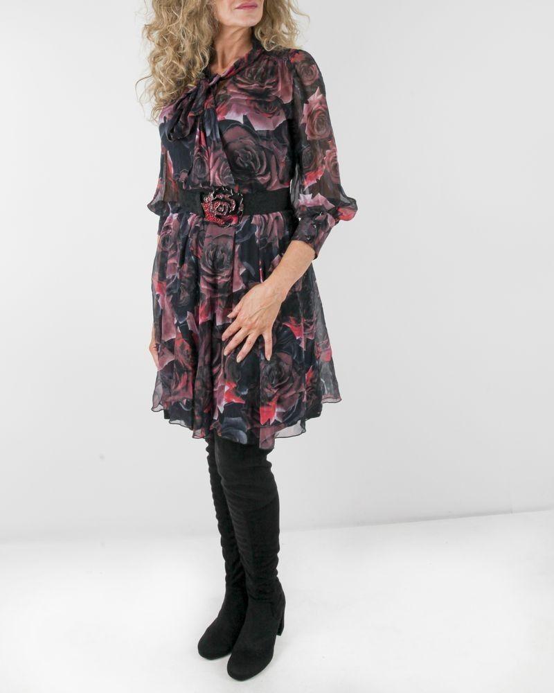 Robe en soie noire à imprimé floral Maria Grazia Severi