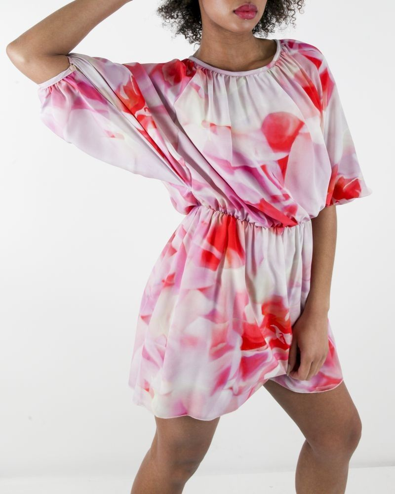Robe 100 % soie rose à imprimé fantaisie Frankie Morello