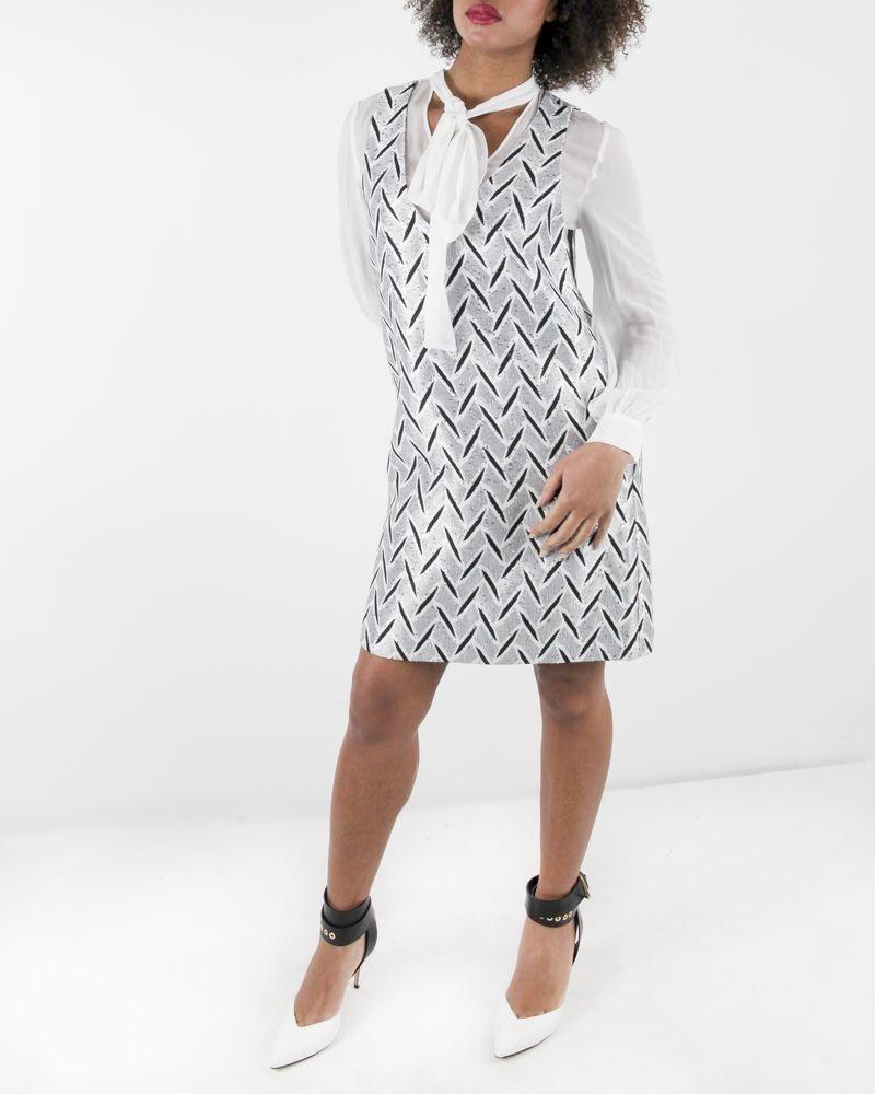 Robe à chemise lavallière en brocard argent à sequin Space Simona Corsellini