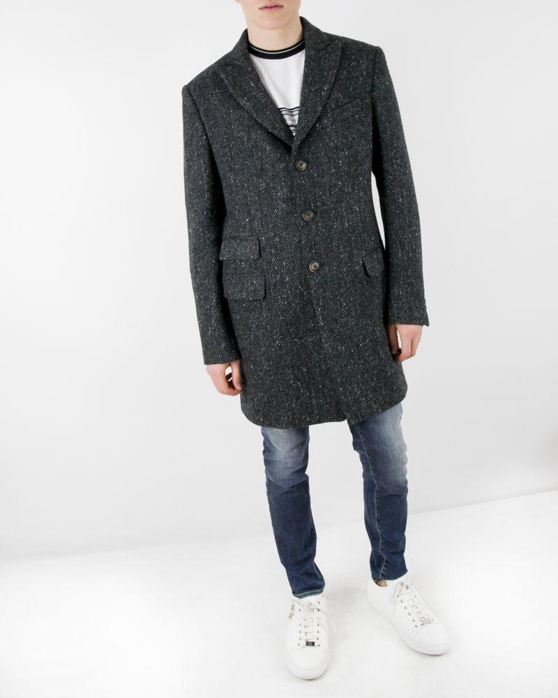 Manteau en laine grise effet chiné Gianni Raffaelli