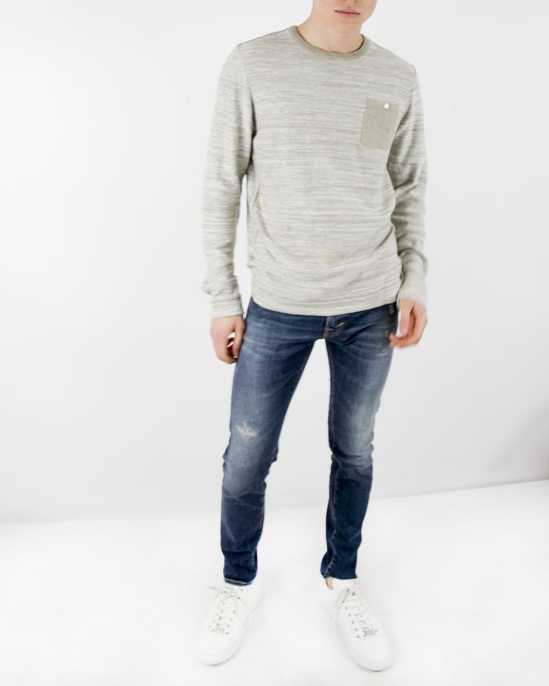 Pull manches longues beige chiné Blue Industry