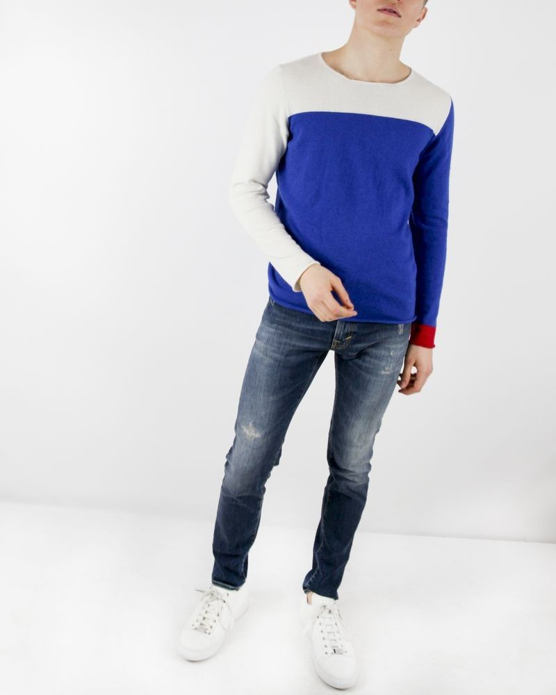 Pull en maille tricolore Soho