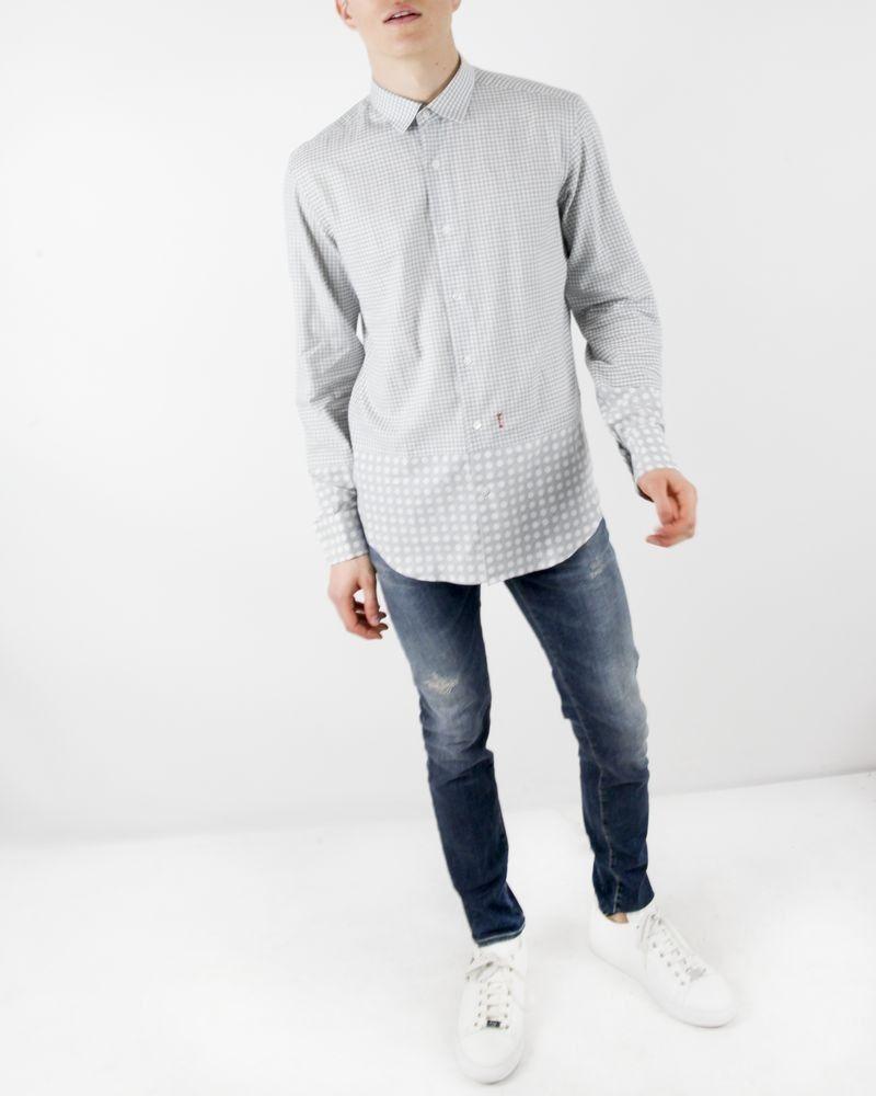 Chemise blanche à imprimé fantaisie gris Marchand Drapier