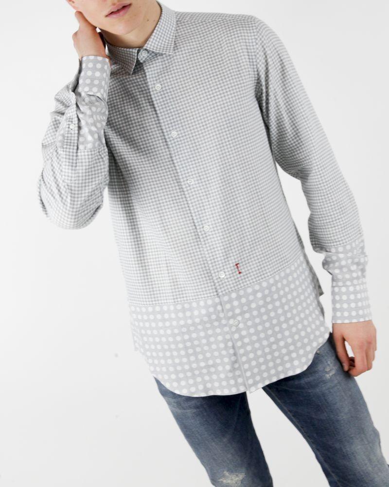 Chemise grise à carreaux Marchand Drapier