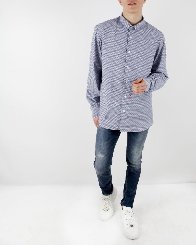 Chemise bleue à carreaux Marchand Drapier