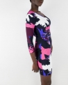 Robe noire et rose avec motifs Roberto Cavalli