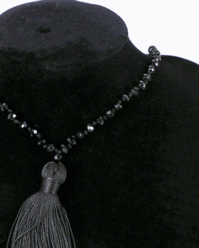Sautoir à perles et pompon noir La Piscine