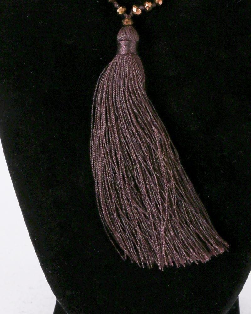 Sautoir à perles multicolores et pompon taupe La Piscine