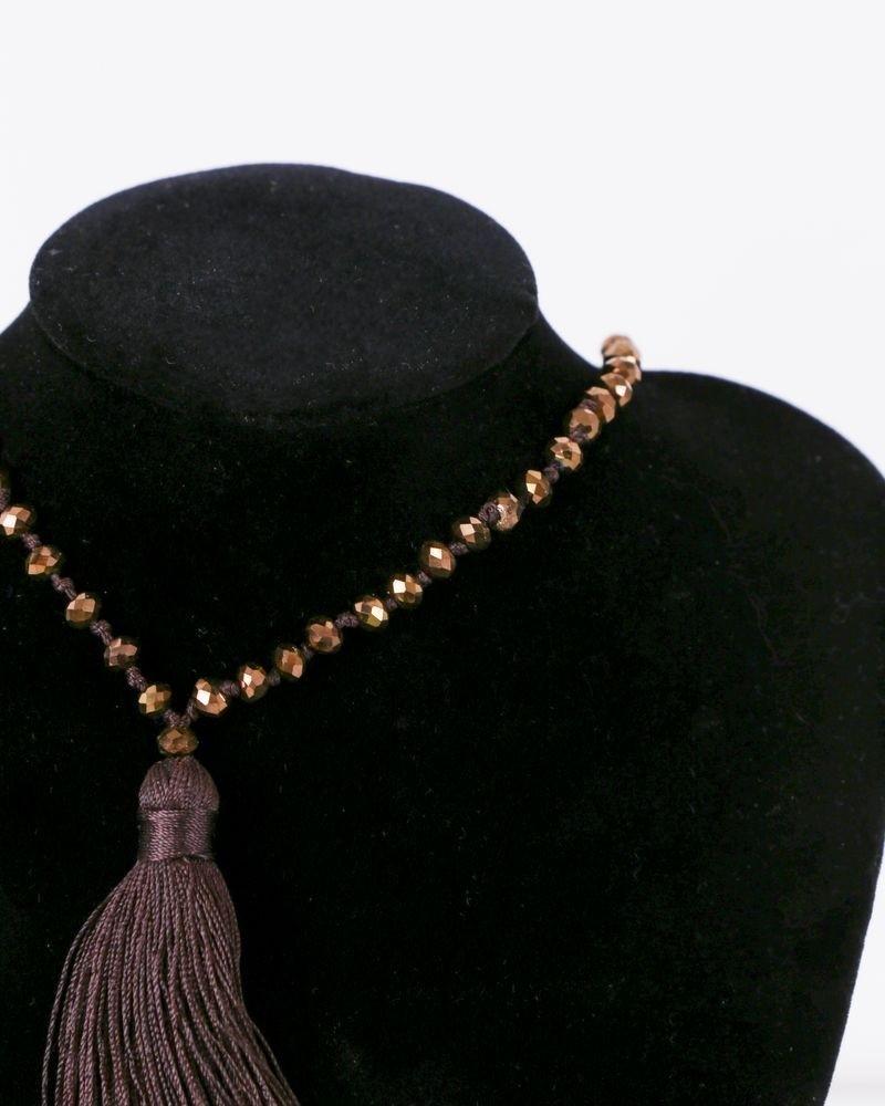 Sautoir à perles multicolores et pompon La Piscine