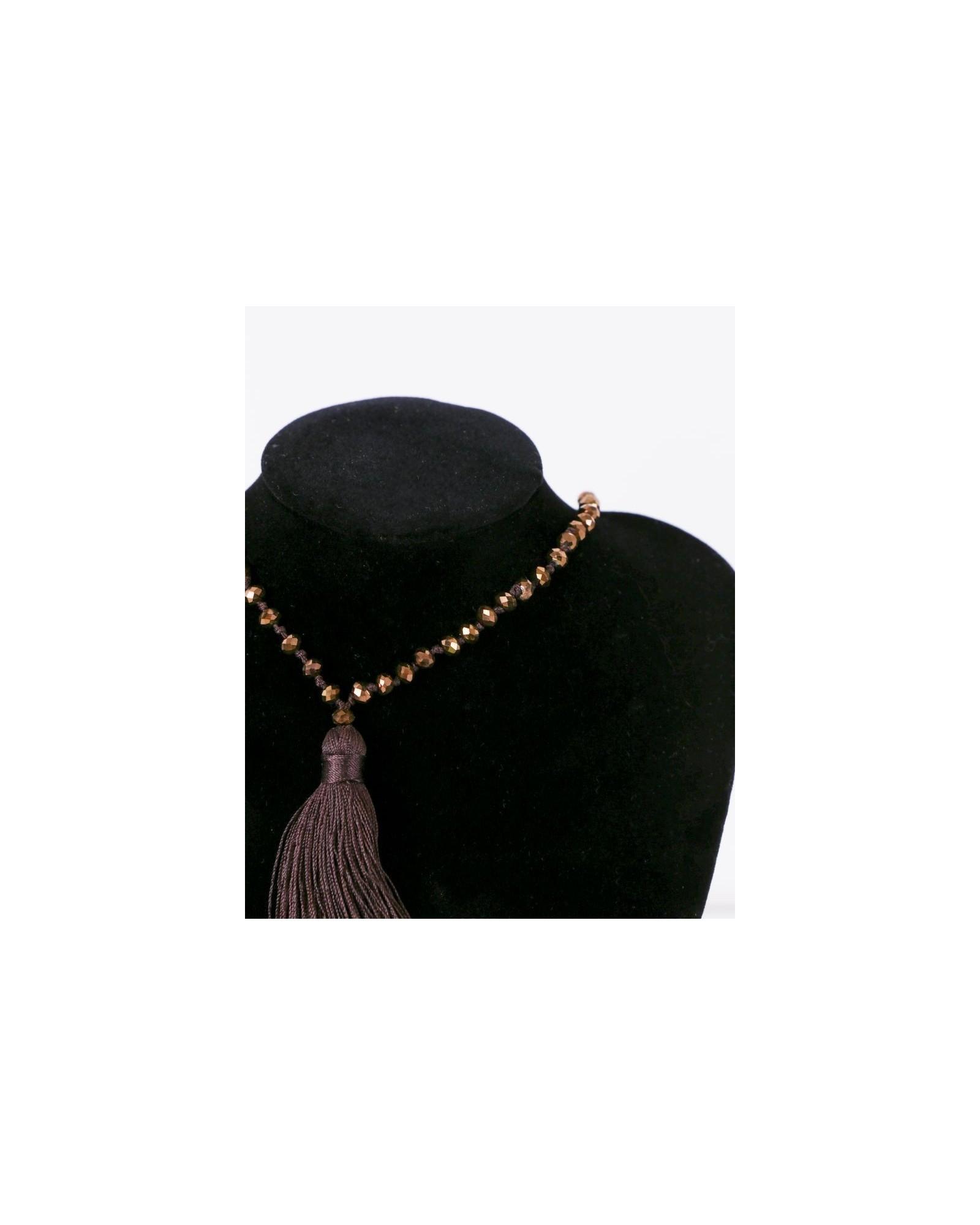Collier marron à perles bronzes La Piscine